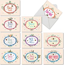 10 'Bee Well Get Well' Note Cards with Envelopes 4 x 5.12 inch, Boxed Greeting Cards Featuring Cute Cartoon Bees and Flowery Well Wishes, Stationery to Help Friends Feel Well Soon M6548GWG-B1x10
