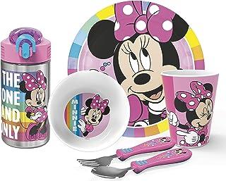 Zak Designs Disney Dinnerware Set Includes Plate, Bowl, Tumbler, Water Bottle, and Flatware BPA-Free Made of Durable Melam...
