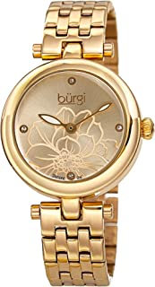 Burgi Stainless Steel Designer Women's Watch – 4 Genuine Diamond Markers on Flower Embossed Sunray Dial - Great Mother's Day Gift - BUR223