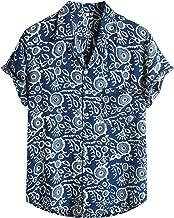 BIBOKAOKE Overhemd voor heren, meerkleurig, vintage, bedrukt Hawaiihemd, linnenlook, vrijetijdshemd, zomer, sportkleding, ...