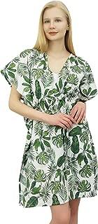 Phagun Women's Leaf Print Cotton Kaftan Dress Short Tunic Beach Caftan