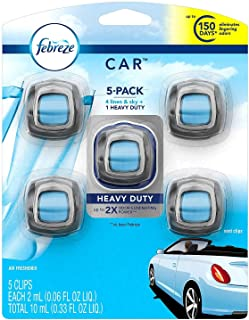Febreze 13 Car Air Freshener, Set of 5 Clips, Linen & Sky-up to 150 Days