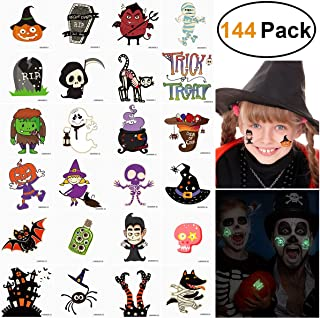 Unomor Halloween Tattoos for Kids Glow in The Dark Trick or Treat Bags Filler Halloween Party Favors 144 Assorted