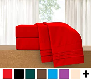 Elegant Comfort 4-Piece Sheet Set-Luxury Bedding 1500 Thread Count Egyptian Quality Wrinkle and Fade Resistant Hypoallergenic Cool & Breathable, Easy Elastic Fitted, Queen, Red