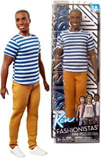 FAS Year 2017 Fashionista Series 12 Inch Doll #18 - Muscular African American Model Ken in Blue and White Super Stripes Shirt and Gold Brown Pants