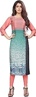 1 Stop Fashion Women's Pink Colour Crepe Knee Long W Style Kurta/Kurti