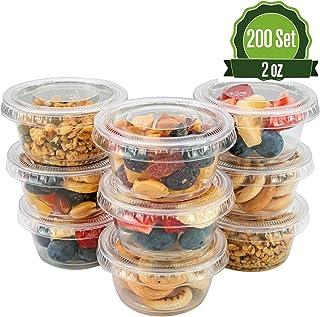SafeWare [2oz-200 set] Disposable Clear Plastic Jello Shot Cups with Lids, Souffle Portion Container