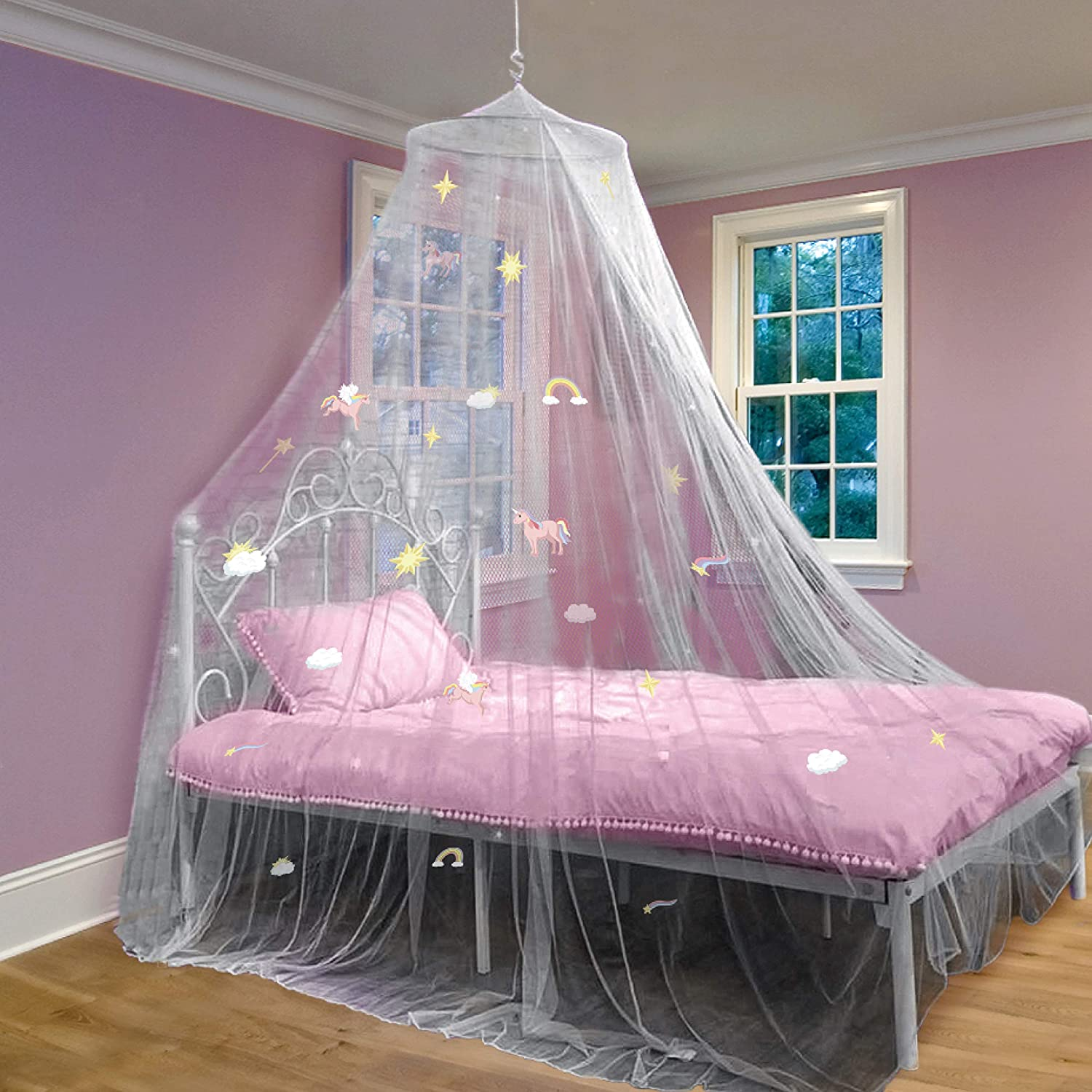 Bed Canopy with Glow in The Dark Unicorns, Stars and Rainbows for Girls, Kids & Babies, Net Use to Cover The Baby Crib, Kid Bed, Girls Bed Or Full Size Bed, Fire Retardant Fabric, White