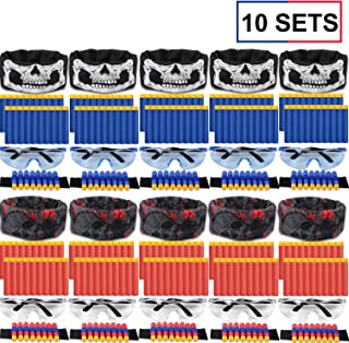 Party Supplies Compatible with Fortnite Nerf Guns - 10 Sets Birthday Party Favors Kids Toy Guns Accessories Party Supplies with Face Mask Kids Refill Darts Tactical Glasses, Wrist Bands for Two Teams