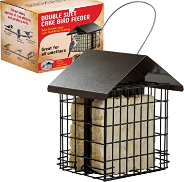 SEWANTA Suet Bird Feeder for Outside [Double Capacity] Suet Wild Bird Feeder with Hanging Metal Roof, Suet Feeders for Outside, for Use with Suet Cakes, Seed Cakes, Meal Worm Cakes