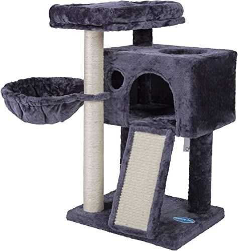 2021 Hey-brother Cat Tree wholesale with online sale Sisal Posts and Scratching Board, Cat Tower with Padded Plush Perch for Kittens online sale