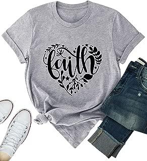 ZJP Women Faith Love Graphic Printed Crew Neck Short Sleeve Casual Tops T-Shirt