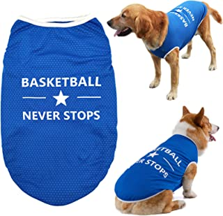 Brocarp Dog Vest Puppy Clothes, Pet Basketball Shirt Doggy Outfit, Spring/Summer Dog Tshirt Clothing for Small Medium Larg...