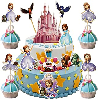 Dawei 34pcs Sofia the First Cupcake Topper,Kids Party supplies Cake Topper Disney Princess Themed