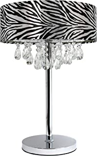 Elegant Designs LT1023-ZBA Romazzino Crystal and Chrome Table Lamp with Ruched Fabric Drum Shade, Zebra Print