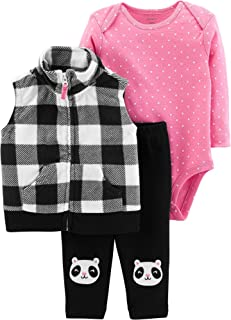 Carter's Baby Girls' 3-Piece Little Vest Set, Check Design