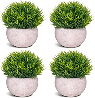 COCOBOO 4 Pcs Mini Artificial Desk Plants Potted Plants Fake Greenery for Room Office Bathroom Balcony Decoration