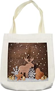 Lunarable Moose Tote Bag, Traditional Festive Design Elements with Snowflakes Star Heart Xmas Balls Retro Print, Cloth Linen Reusable Bag for Shopping Groceries Books Beach Travel & More, Cream