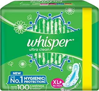 Whisper Ultra Clean Sanitary Pads XL Plus 60 Units