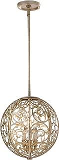 Feiss F2538/3SLP, Arabesque Round Pendant, 3 Light, 180 Total Watts, Silver