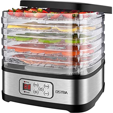 OSTBA Déshydrateur Alimentaire de Température Réglable Sèche-aliments Déshydrateur Affichage LED Déshydrateur Électrique avec Minuterie 72H, 240W, Livre de Recettes Inclus