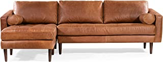 POLY & BARK Napa Left Sectional Leather Sofa in Cognac Tan