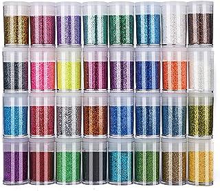 Glitter Polvere 32 Colori Set di Polvere Glitter Decorazioni, Tubetti di Glitter Per Viso & Body, Costumi, Pittura, Babmin...