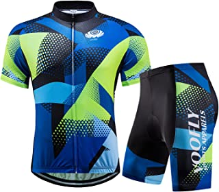 Men's Cycling Jersey Set Men Short Sleeve Compression Bike Shorts Gel Padded Biking Clothing