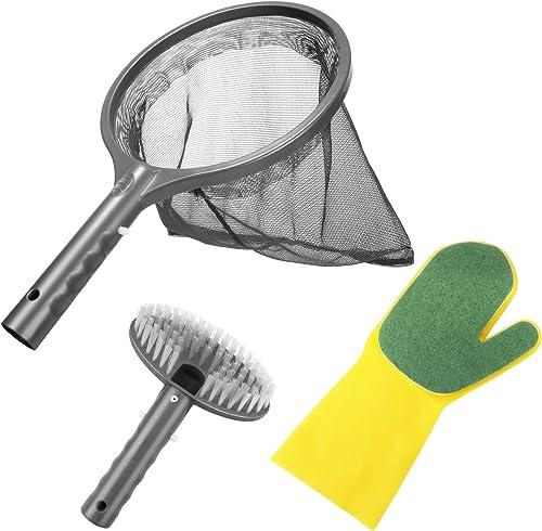 Aiglam Kit de Nettoyage Piscine, 3PCS Kit d'Accessoires Nettoyage Pool Net avec Filet de Piscine, Brosse & Gant de Ré...