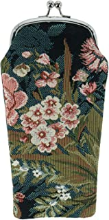 CTM Women's Floral Print Tapestry Glasses Case