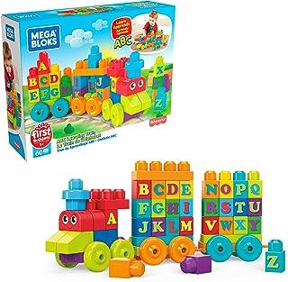 Mega DXH35 - Mega Bloks First Builders ABC Learning Train med stora byggstenar, byggleksaker för småbarn (60 delar), passa...