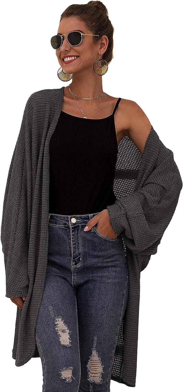 Floerns Women's Batwing Sleeve Open Front Waffle Knit Cardigan Sweater