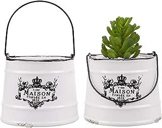 MyGift Rustic White Ceramic French Maison Pail Design Planter Pot, Set of 2