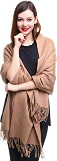 REEMONDE Cashmere Wrap Pashmina Stole for Women Winter Extra Large Mens Lambswool Solid Shawl Scarf Holiday Gift