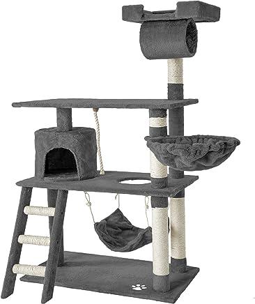 TecTake Arbre á Chat géant grattoir griffoir et Centre d'activités 141cm - diverses Couleurs au Choix - (Gris | No. 401853)
