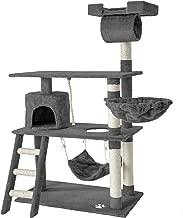 TecTake 800294 Katzen Kratzbaum mit vielen Kuschel- und Spielmöglichkeiten, 141cm hoch, extra breit - Diverse Farben -