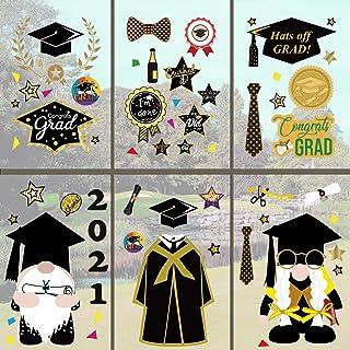 WENWELL Class of 2021 Window Graduation Clings Decals for Glass، Bachelor Cap Gown Diploma Grad Sign Decals Home Decals، لوازم جانبی تابلوچسبهای دیواری دیواری برای وسایل مهمانی مدرسه