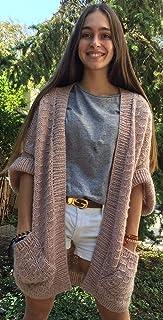 Chaleco de color rosa, de lana alpaca y acrílico, hecho 100% a mano, talla única, para mujer o chica