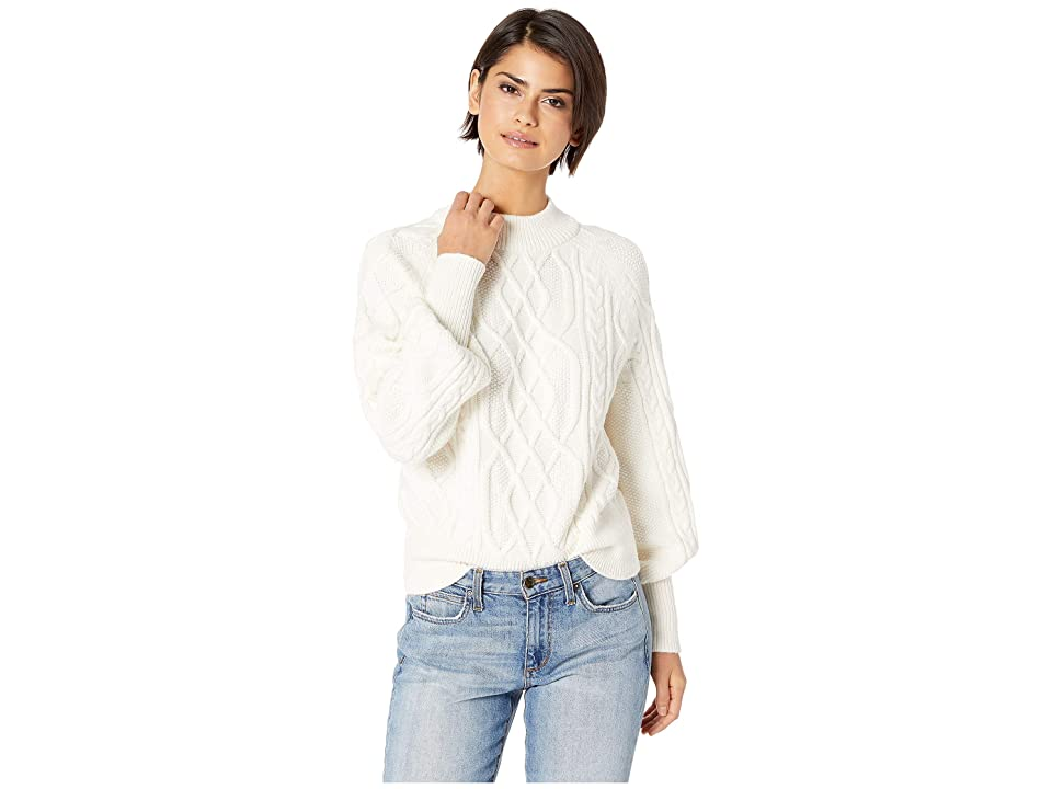 1.STATE Crew Neck Mixed Cable Sweater (Antique White) Women
