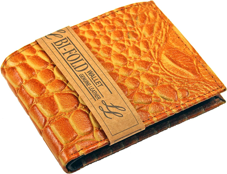 Mens Genuine Alligator Leather Bifold Wallet ID Credit Card Window Crocodile New (Yellow Tan)