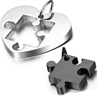 2PCS Stainless Steel Couples Love Heart Puzzle Pendant Necklace for Valentines Day,Chain Included, with Gift Bag Package,Black