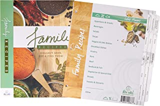 Family Recipe Organizer Kits: STANDARD LENGTH Index Tabs for Three-ring Binder with Cover