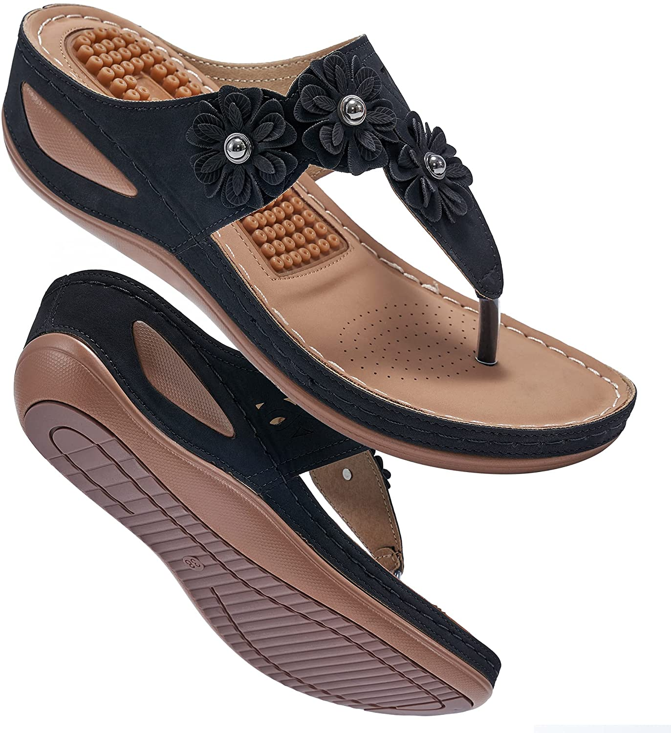 Womens Wedge Flip Flops Sandals latest OFFicial shop with Comfort Support Arch Summer