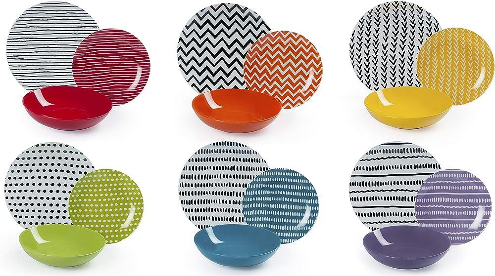 Excelsa crazy line,  servizio di piatti da18 pezzi, in porcellana e ceramica multicolore 62495