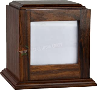 STAR INDIA CRAFT Rosewood Peaceful Pet Memorial Keepsake Urn - A Perfect Photo Box Cremation Urn for Dogs,Cats - Pets, Keepsake Urns for Ashes, Wooden Ashes Box Urn