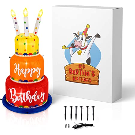 Big Bertha's Birthday 6 Ft Giant Inflatable Happy Birthday Cake with Lighted Candles - Light Up Indoor and Outdoor Blow Up Prop for Parties, Events, Celebrations - Fun and Colorful Yard Decor