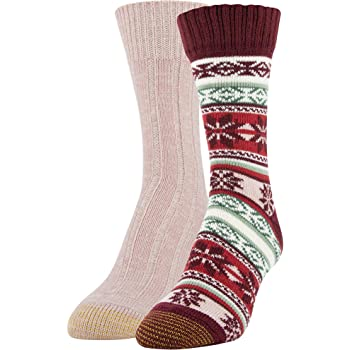 Gold Toe Women's Snowflake Fairisle Crew Socks, 2 Pairs, Cabernet, Blush, Shoe Size: 6-9