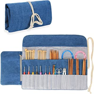 Luxja Knitting Needles Organizer, Rolling Bag for Knitting Needles (up to 10 Inches), Crochet Hooks and Accessories (No Accessories Included), Blue