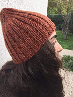 Acogedor sombrero de color terracota para otoño y invierno. Gorro de pescador, beanie, slouchy, unisex. Gorro de lana de a...