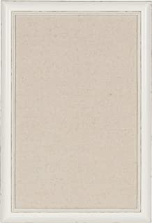 DesignOvation Macon Framed Linen Fabric Pinboard, 18x27, Soft White